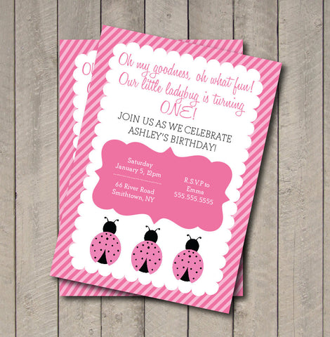 Ladybug Birthday Party Invitation - Hot Pink & Light Pink Ladybug Invite - Digital Printable Invite - Ladybug Invitation - Get The Party Started