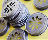 12 Daisy Cut Mason Jar Lids - Daisy Cut Lids - Pewter Daisy Cut Lids - Mason Jar Daisy Cut Lids - Glass Jar Lid - Get The Party Started