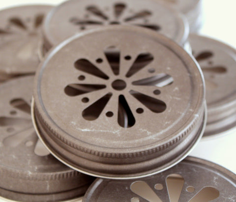 12 Mason Jar Lids - Daisy Cut Lids - Pewter Daisy Cut Lids - Mason Jar Daisy Cut Lids - Glass Jar Lid - Glass Jar Lids - Get The Party Started