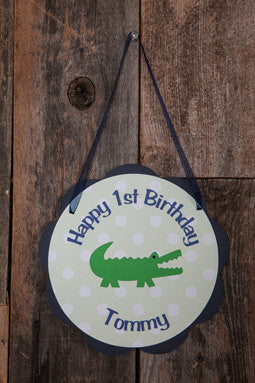 Alligator Birthday Party Door Sign - Alligator Theme Happy Birthday Party Decorations in Navy Blue & Green - Get The Party Started