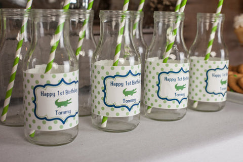 Alligator Birthday Party Water Bottle Labels - Alligator Birthday Party Decorations - Crocodile Labels - Navy Blue and Green (12) - Get The Party Started
