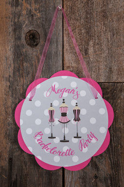 Bachelorette Party Decorations - Lingerie Theme Door Hanger, Bride to Be Sign, Bridal Shower Decorations in Hot Pink and Black Polka Dot - Get The Party Started