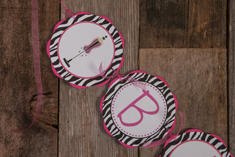 BACHELORETTE Party Banner in Hot Pink and Zebra - Bachelorette Party Decorations - Lingerie Shower Decorations - Bridal Shower Banner - Get The Party Started