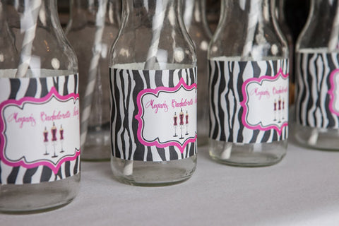 Bachelorette Water Bottle Label - Lingerie Shower Party Decorations - Bridal Shower in Hot Pink & Zebra (set of 12) - Get The Party Started
