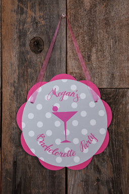 Bachelorette Party Decorations - Martini Theme Door Hanger, Bride to Be Sign, Bridal Shower Decorations in Hot Pink and Black Polka Dot - Get The Party Started