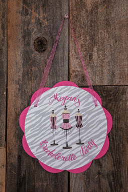 Bachelorette Party Decorations - Lingerie Shower Door Hanger, Party Decoration, Bridal Shower Party Sign in Hot Pink and Zebra - Get The Party Started