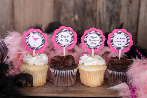 Bachelorette Party Cupcake Toppers - Bridal Shower Decorations - Hot Pink and Zebra Martini Glass Theme Bachelorette Party Cupcake Toppers - Get The Party Started
