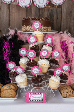 Bachelorette Party Cupcake Toppers - Hot Pink and Zebra Martini Glass Theme - Bachelorette Party Decorations - Get The Party Started