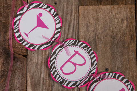 BACHELORETTE Banner in Hot Pink and Zebra Martini Theme - Bachelorette Party Decorations - Bachelorette Banner - Bachelorette Decorations - Get The Party Started