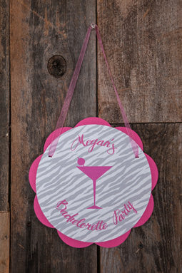 Bachelorette Party Decorations - Martini Theme Door Hanger, Bride to Be Sign, Bridal Shower Decorations in Hot Pink and Zebra - Get The Party Started