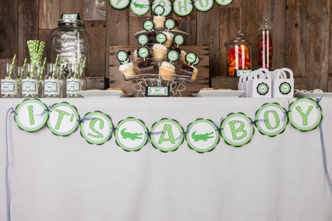Alligator Baby Shower Banner -  ITS A BOY Party Sign - Alligator Theme Shower Decorations in Navy Blue and Green - Get The Party Started