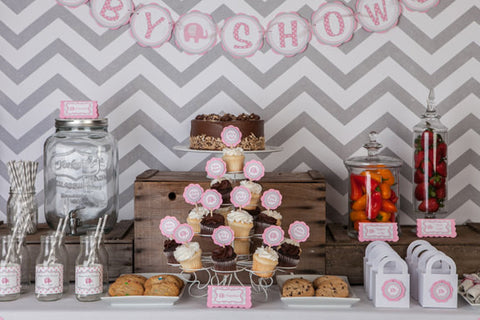 ... Water Bottle Labels   Pink Elephant Baby Shower Decorations   Pink U0026  Grey Itu0027s A Girl ...
