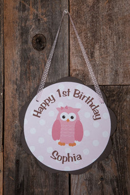 Owl Door Hanger Party Sign - Owl Happy Birthday Party Decorations in Pink & Brown Owl - Girl Birthday Party Owl Theme - Get The Party Started