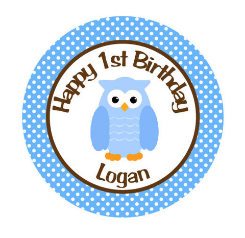 Blue Owl Iron On Transfer for Birthday Shirt - Owl Theme Birthday Party Iron on Transfer - Owl Birthday Outfit - Blue & Brown - Get The Party Started