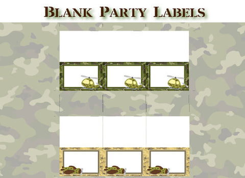 Army Birthday Party - BLANK LABELS - Printable Seating Cards - Printable Buffet Tents - DIY Camo Army Birthday Party - Get The Party Started