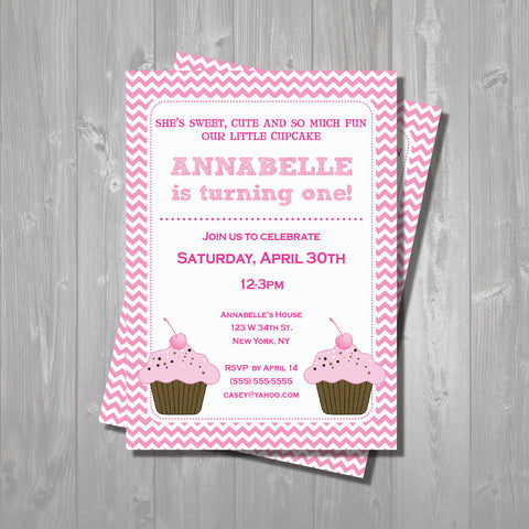 Cupcake Birthday Party Invite - Hot Pink & Light Pink Cupcake Invitation - Pink Chevron Digital Printable Invite - Cupcake Invite - Get The Party Started