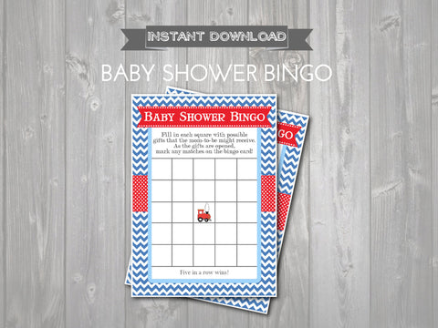 BABY SHOWER BINGO Game Cards - Printable Baby Shower Bingo Cards - diy Baby Shower Games - Red & Blue Train Theme - Train Instant Download - Get The Party Started