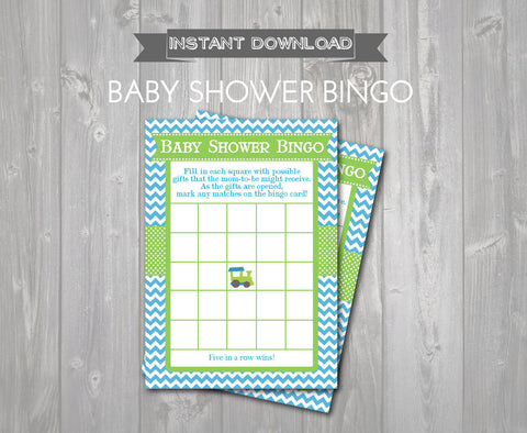 BABY SHOWER BINGO Game Cards - Printable Baby Shower Bingo Cards - diy Baby Shower Games - Aqua & Green Train Theme - Train Instant Download - Get The Party Started