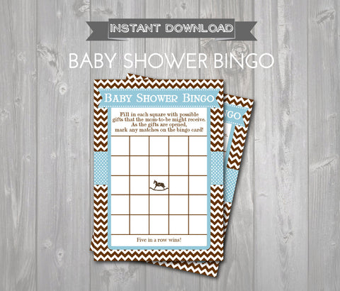 BABY SHOWER BINGO Game Cards - Printable Baby Shower Bingo Cards - Baby Shower Games - Blue & Brown Rocking Horse Theme - Instant Download - Get The Party Started