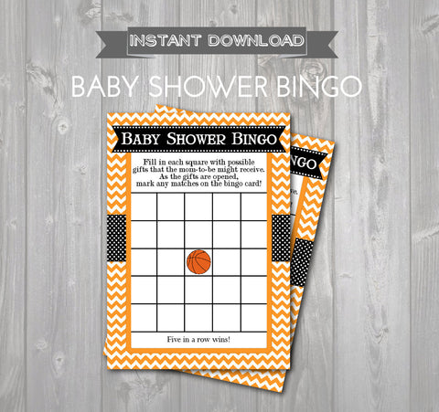 BABY SHOWER BINGO Game Cards - Printable Bingo Cards - Baby Shower Games - Orange & Black Chevron Basketball Baby Shower - Instant Download - Get The Party Started