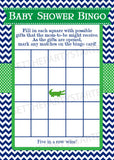 BABY SHOWER BINGO Game Cards - Printable Bingo Cards - Baby Shower Games - Navy Blue & Green Preppy Alligator Theme - Instant Download - Get The Party Started