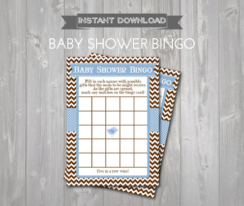 BABY SHOWER BINGO Game Cards - Printable Baby Shower Bingo Cards - Baby Shower Games - Blue & Brown Bird Baby Shower - Instant Download - Get The Party Started
