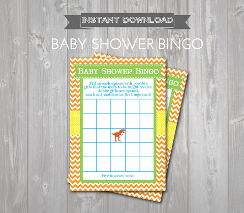 BABY SHOWER BINGO Game Cards - Printable Baby Shower Bingo Cards - Baby Shower Games - Dinosaur Baby Shower - Dino Shower - Instant Download - Get The Party Started