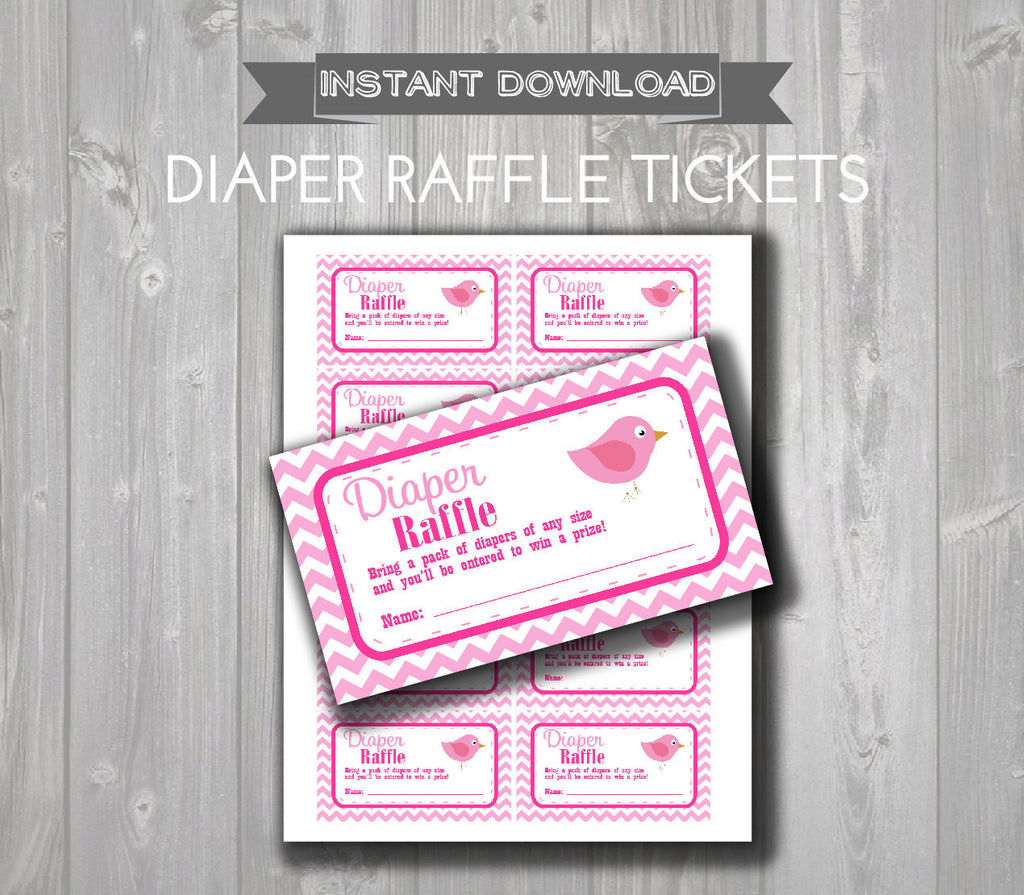 DIAPER RAFFLE TICKETS - Printable Baby Shower Raffle Tickets - Hot Pink & Light Pink Bird Baby Shower - Instant Download - Printable Tickets - Get The Party Started
