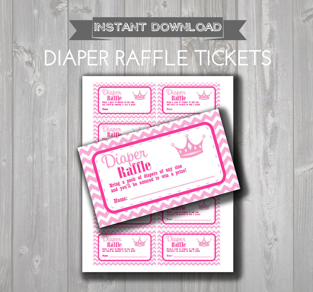 DIAPER RAFFLE TICKETS - Printable Baby Shower Raffle Tickets - Hot Pink & Light Pink Princess Baby Shower - Instant Download - Baby Tickets - Get The Party Started