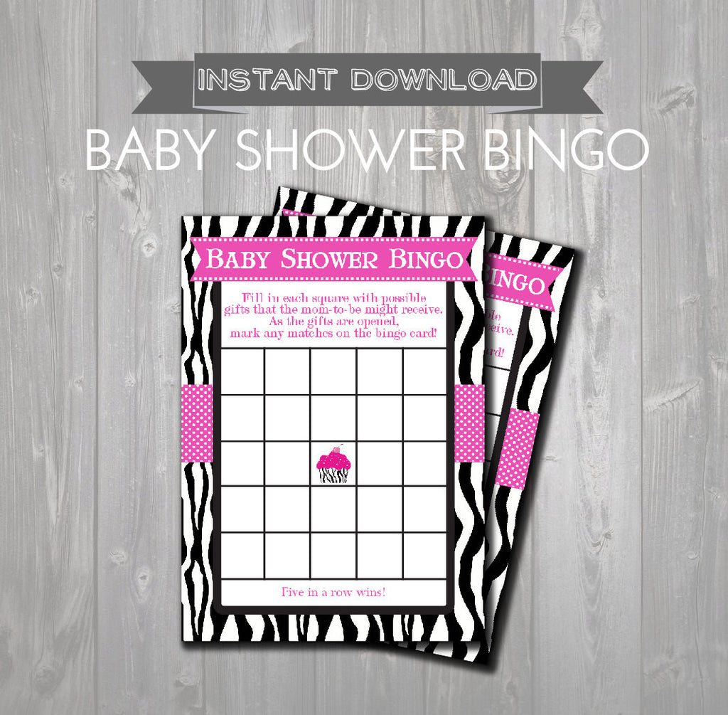 BABY SHOWER BINGO Game Cards - Printable Baby Shower Bingo Cards - Hot Pink & Zebra Cupcake Baby Shower - Instant Download Shower Games - Get The Party Started