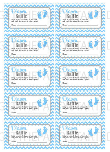 DIAPER RAFFLE TICKETS - Printable Baby Shower Raffle Tickets - Grey & Blue Baby Feet Baby Shower - Instant Download - Printable Tickets - Get The Party Started
