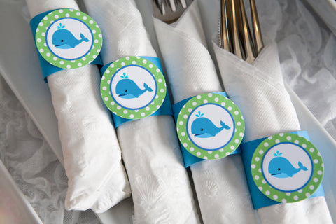 Whale Birthday Party - Napkin Rings - Silverware Wraps - Preppy Ocean Theme Party Decorations & Baby Shower Theme in Blue and Green (12) - Get The Party Started