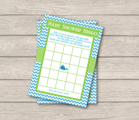 BABY SHOWER BINGO Game Cards - Printable Baby Shower Bingo Cards - Baby Shower Games - Aqua & Green Whale Baby Shower - Instant Download - Get The Party Started