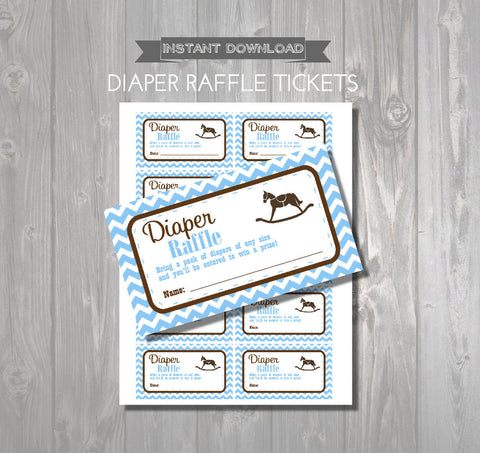 DIAPER RAFFLE TICKETS - Printable Baby Shower Raffle Tickets - Rocking Horse Baby Shower - Instant Download - Blue & Brown Shower Games - Get The Party Started
