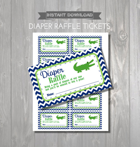 DIAPER RAFFLE TICKETS - Printable Baby Shower Raffle Tickets - Alligator Baby Shower - Instant Download - Crocodile Shower Games - Get The Party Started