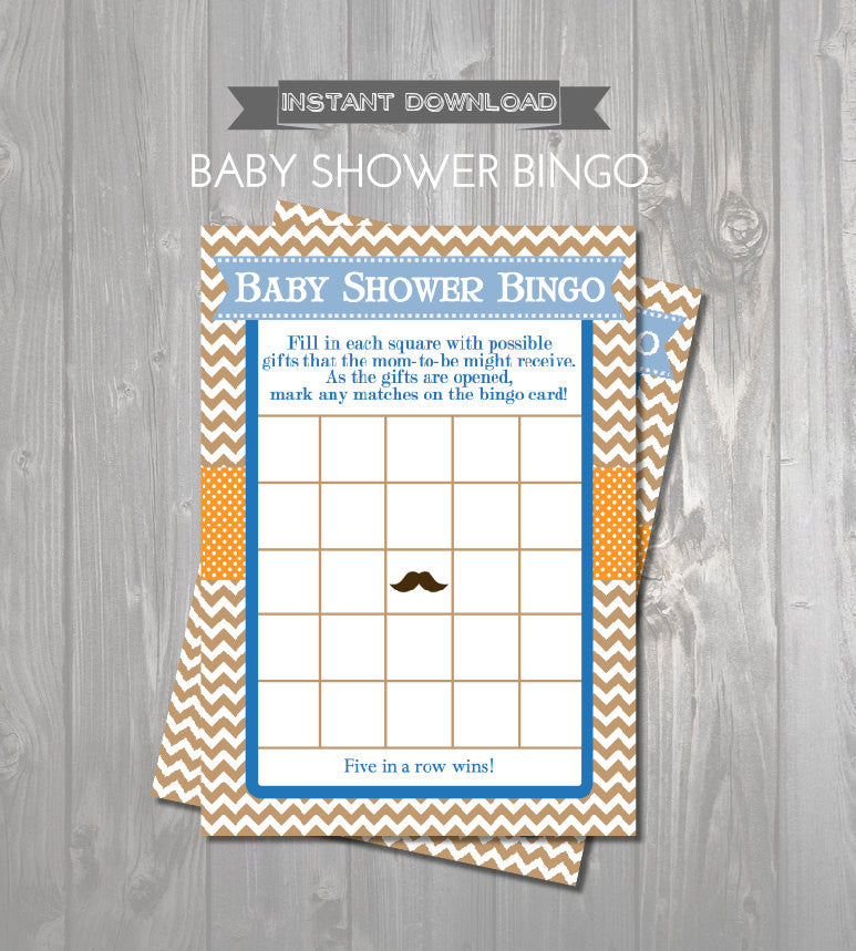 BABY SHOWER BINGO Game Cards - Printable Baby Shower Bingo Cards - Mustache Baby Shower - Little Man Baby Shower Instant Download - Get The Party Started