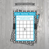 BABY SHOWER BINGO Game Cards - Printable Baby Shower Bingo Cards - Mom to Be Aqua and Black Damask Baby Shower - Instant Download Game - Get The Party Started