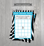 BABY SHOWER BINGO Game Cards - Printable Baby Shower Bingo Cards - Mom to Be Aqua and Black Zebra Baby Shower - Instant Download Shower Game - Get The Party Started