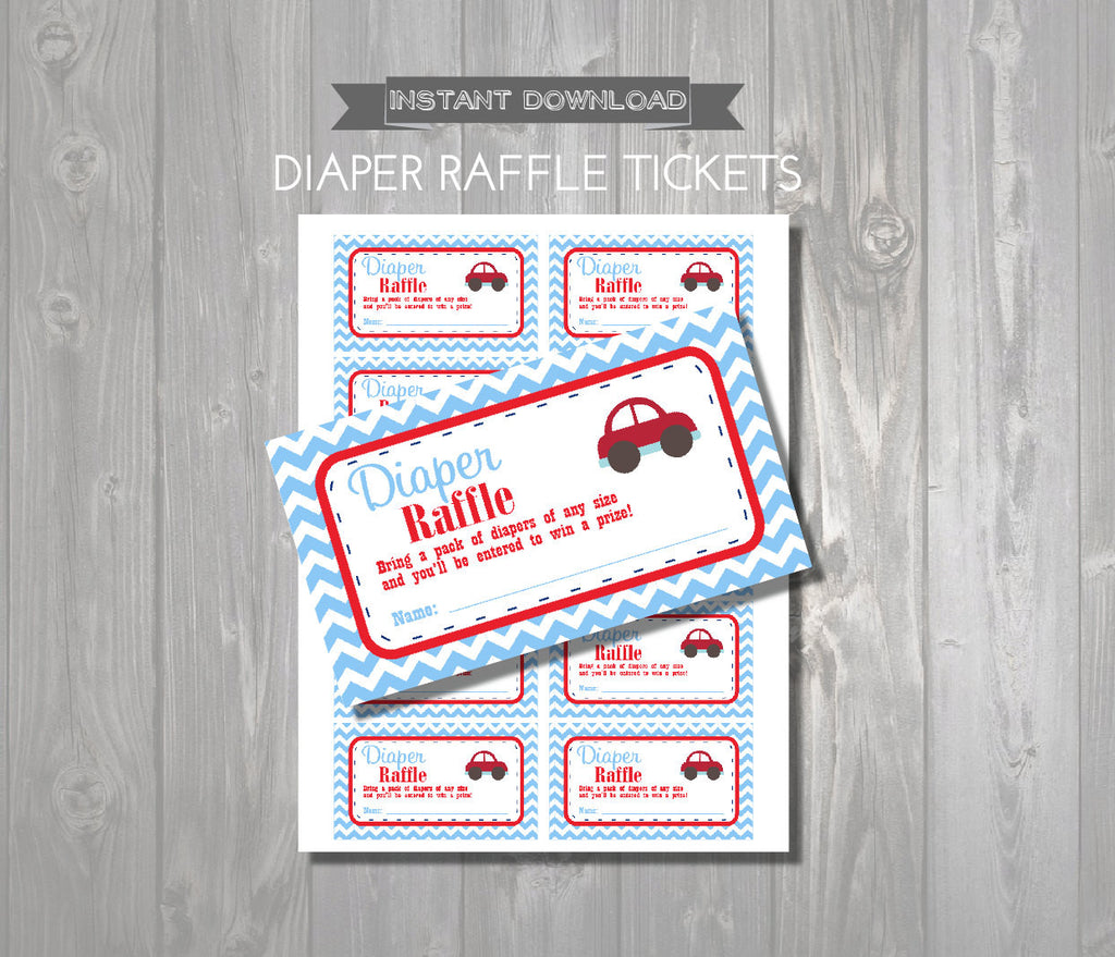 DIAPER RAFFLE TICKETS - Printable Baby Shower Raffle Tickets - Car Baby Shower - Instant Download - Cars Printable Shower Games - Red & Blue - Get The Party Started