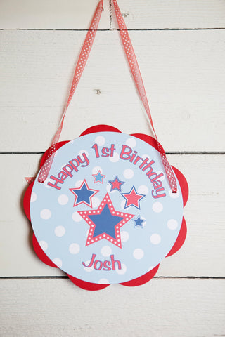4th of July Birthday Party - Stars Door Hanger - Star Happy Birthday Sign - Patriotic Decorations - Star Party - Red White and Blue - Get The Party Started