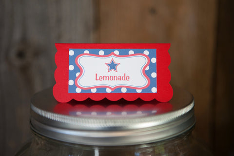 4th of July BBQ Food Tents - Patriotic Place Cards - Star Party Decorations Birthday or Baby Shower - Red White and Blue Patriotic Party (6) - Get The Party Started