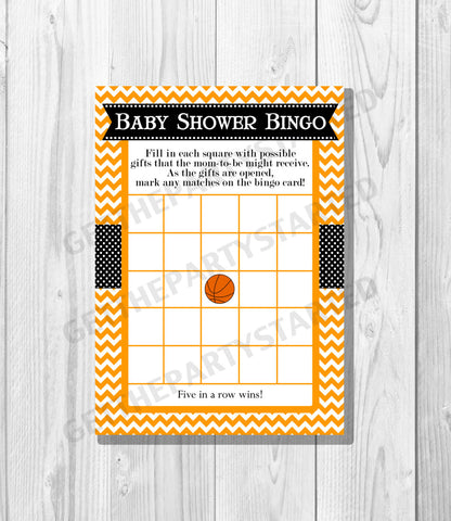 BABY SHOWER BINGO Game Cards - Printable Baby Shower Bingo Cards - diy Baby Shower Games - Orange & Black Basketball - Instant Download - Get The Party Started