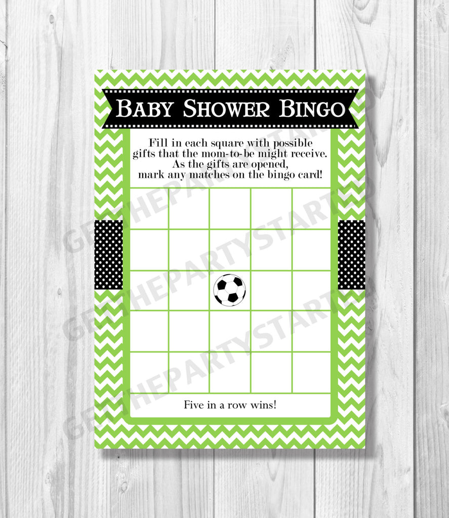 BABY SHOWER BINGO Game Cards - Printable Bingo Cards - Baby Shower Games - Black and Green Soccer Baby Shower - Instant Download - Get The Party Started
