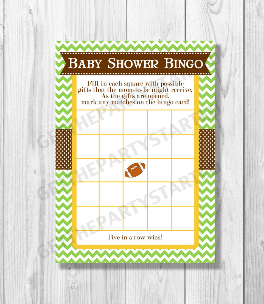 BABY SHOWER BINGO Game Cards - Printable Baby Shower Bingo Cards - Football Baby Shower - Printable Football Game - The Big Game Baby Shower - Get The Party Started