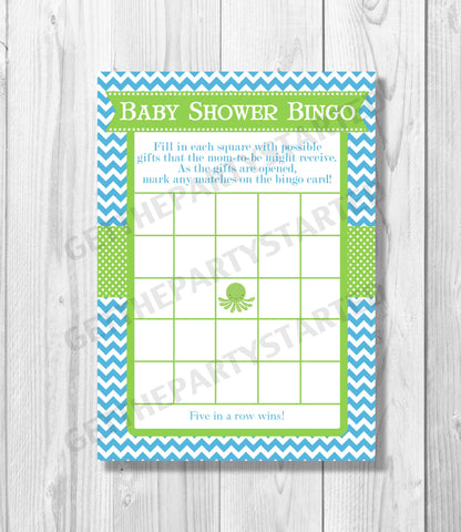 BABY SHOWER BINGO Game Cards - Printable Baby Shower Bingo Cards - Octopus - Under the Sea Baby Shower - Ocean Shower - Instant Download - Get The Party Started