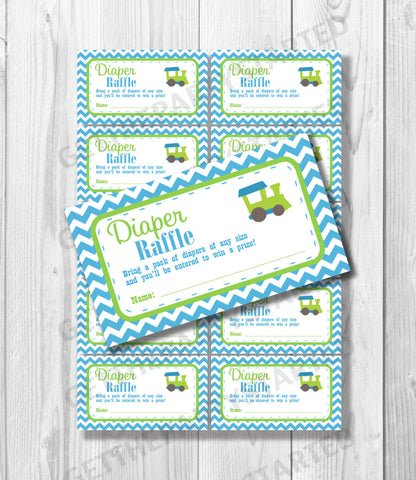 DIAPER RAFFLE TICKETS - Printable Baby Shower Raffle Tickets - Train Baby Shower - Instant Download - Printable Shower Games - Aqua & Green - Get The Party Started