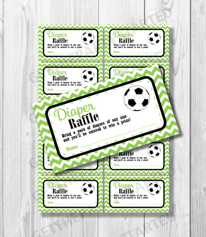 DIAPER RAFFLE TICKETS - Printable Baby Shower Raffle Tickets - Soccer Baby Shower - Instant Download - Soccer Shower Games - Black & Green - Get The Party Started