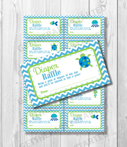 DIAPER RAFFLE TICKETS - Printable Baby Shower Raffle Ticket - Under the Sea Baby Shower - Instant Download - Ocean Shower Games - Sea Turtle - Get The Party Started