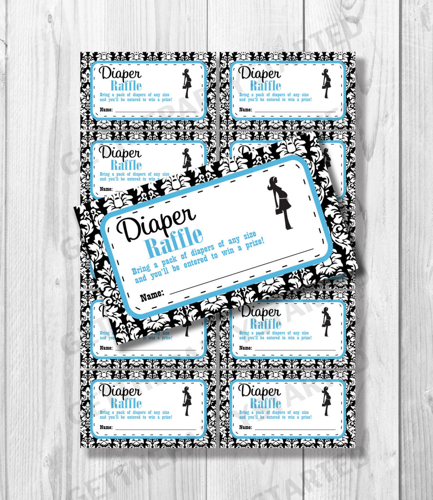 DIAPER RAFFLE TICKETS - Printable Baby Shower Raffle Tickets - Damask Baby Shower - Printable Instant Download - Aqua & Black Mom to Be - Get The Party Started