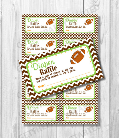 DIAPER RAFFLE TICKETS - Printable Baby Shower Raffle Tickets - Football Baby Shower - Instant Download - Lil Quarterback Shower Games - Get The Party Started